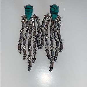 Earrings- Diamond and Marble Turquoise